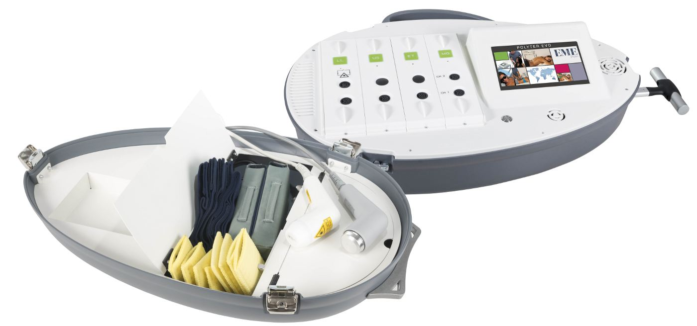 Mobiles Therapiesystem mit TECAR, Ultraschall, EMS, Lasertherapie